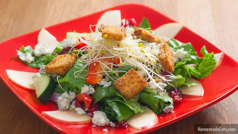 Apple, Blue Cheese, Cranberry and Sprouts Salad